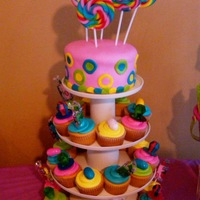 Layah's Candy Bar Cake Real candy used for toppers and pops...rest is buttercream and MMF...