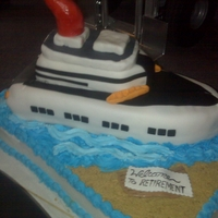 Cruise Ship Retirement Cake Did this for a retirement party. A couple of mishap, but it came out cool. Huge! Two half sheets as the base, pound cake as the ship and...