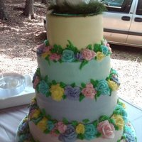 "Pastel Wedding Cake  Wedding cake for my Dad and his new wife...All she requested was patel colors..12"" (chocolate cake w/ Italian cream filling), 10&quot..."