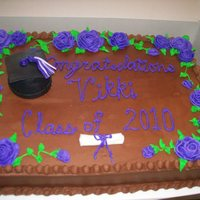 Graduation Class Of 2010 Cake  1/2 sheet all chocolate/chocolate buttercream filled with Italian Cream. Grad cake for a girl who didn't like her school colors, just...