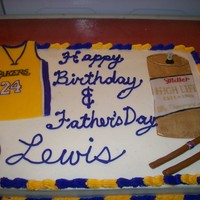 Birthday/ Father's Day Combo Cake VERY short notice cake for my neighbor..asked at 6pm, wanted it the next morning... He had to share his b-dy with Father's day. Lakers...