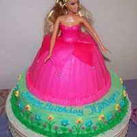 Barbie Birthday Cake This is my dd birthday cake. The dress was baked in a Pamper Chef batter bowl. The top part of the dress is fondant and the rest butter...