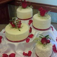 Monit Wedding Shower This is mmf, royal scrolls and dots, fresh roses on skewers and real satin ribbon.....i am pretty proud of this one!