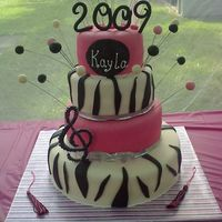 Kayla Grad Cake ! 14, 10, 8, 6 in gumpaste 2009 and balls on wire. Dark Chocolate w/chocolate mousse, Strawberry with white chocolate mousse, french vanilla...