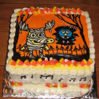 "Moose And Zee My boys love the ""I Don't Like Candy Corn"" song so I made this cake for them."