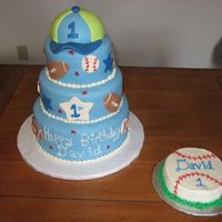 Sports Themed 1St Birthday   MMF, Hat is RKT covered in MMF, smash cake is BC