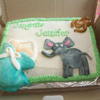 Safari Animal Baby Belly Cake Yel with BC. Painted fondant.