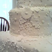 Dress Inspired Details  The bride gave us a close up photo of her dress and the appliqués she wanted replicated for the cake... when I went searching...