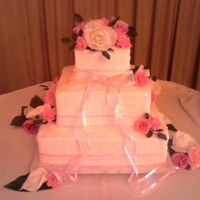 Pink Ribbon Square Cake Real pink sheer ribbon, silk flowers
