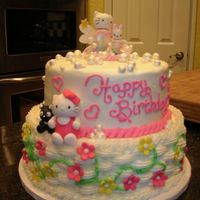 "Hello Kitty Hello Kitty cake, 10"" vanilla and 8"" chocolate. The mom had 2 color themes going on. Pastels (fondant topper was made to match..."