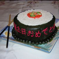 Sushi Cake The kanji on the side of the cake is Japanese for Happy Birthday. Next time I make this I may try a chocolate wrap instead of the fondant,...