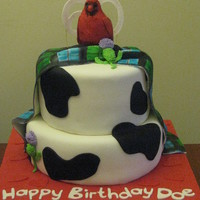 "Cow Lover's Custom 60Th Birthday Cake The client said his mom loved cows, cardinals made her think of her mother, she's Scottish (Morrison tartan) and they call her ""..."