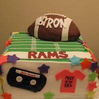 Football Fan/player Born In The 80S Celebrates His 30Th Birthday boy's wife wanted an 80's theme cake for her former football playing hubby's 30th birthday! You can't have the...