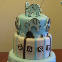 Baby Shower Using Baby's Bedding Design Baby Jaxon's baby shower cake to match his blue bedding with elephant motif. Hand-cut the elephants from gumpaste using a picture of...