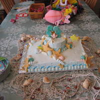 Ocean Theme Wedding Shower Sheet cake with 6 inch tier iced with French Buttercream. Handmolded fondant fish, sea horses, starfish, and chocolate seashells decorate...