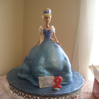"Cinderella Doll Cake used wilton doll mold with a 10"" round that I cut to make more like flower petals and added the rest to make the ""poofs"" in..."