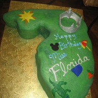 Miss Florida Birthday Cake covered in MMF, fondant decorations, except crown in gum paste