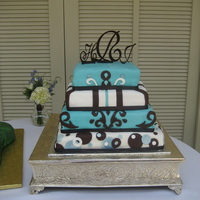 Aqua And Blue 4 Tier Wedding Cake mmf and modeling chocolatemmf always seems to give me trouble, not truly satisfied with the way it covered the cakes