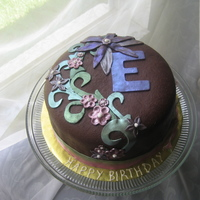 Chocolate Birthday Cake Covered and decorated entirely in modeling chocolate. Color given with luster dust