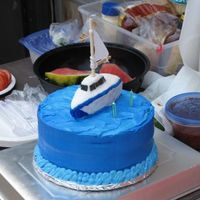 Sailboat Cake This cake was made for a co-worker who has a sailboat. The boat is made from RKT and covered in fondant. The sail is cotton.