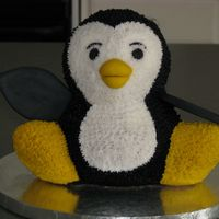 Penguin Cake Penguin Cake covered with BC icing and Fondant Beak and wings.
