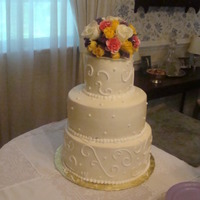 My First Wedding Cake I made this for a friends grandmothers wedding I had never made a cake like this before. She wanted buttercreme to look like fondant. I&#...