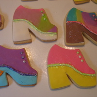 Platform Shoe Disco Cookies platform shoes made to coordinate with disco ball and dancers cake.