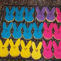 Peeps! Easter Cookies  Made these Peep cookies for my nieces and nephew. I made the cutter by bending an existing cutter and giving the bunny a chin-ectomy! LOL!...
