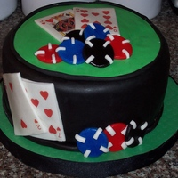Poker Birthday Cake Butter cake layered with chocolate buttercream, covered in fondant. Cards were edible images and poker chips were fondant. TFL.