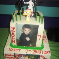 Zach's G I Joe Birthday Bottom cake is choc fudge with Swiss Meringue filling and butter cream icing, top tier is yellow cake with butter cream icing and filling....
