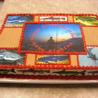 Gone Fishing Choc Cake , choc icing, edible images