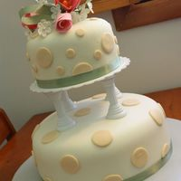 My Very First Wedding Cake Gumpaste flowers on top, Cakes covered in MMF