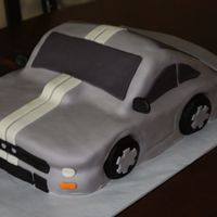 Mustang Shorter version of the new mustang. I used duff spray can over gray fondant to get the silver effect. used two 9x15 cake pan stacked and...