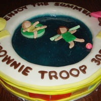 Summer Cake For Brownie Troop to celebrate the end of the year for my daughter's brownie troop I made this cake from the many ideas I found on this site. I used...