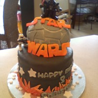 Star Wars Cake This cake I made for my son's best friend who loves everything Star Wars. This was a challenge as I made the Death Star from Rice...