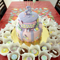 Dora Theme Flowers And Garden Cake With Matching Cupcakes