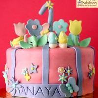 Flower Garden Cake Vanilla cake with fresh cream and fruits filling