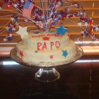 4Th Of July Birthday Cake This cake was done on very short notice. Top tier is Red Velvet with Cream Cheese Filling and the Bottom is a Butter Cake with Butter Cream...