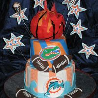 Sports Cake  A cake of 3 Miami teams. The Dolphins, Gators and the Heat. This cake was made for 3 girls who are sports fanatics. The logos were made...