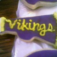 Minnesota Vikings Megaphone  Part of a MN Viking cookie bouquet done last minute for my husband's coworker. NFSC with fondant and yellow buttercream accents. Was...