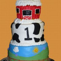 Adam's Farm Cake! This was for my sons first birthday! The top barn was his smash cake. Yes, it got everywhere and yes I was able to get it all out of his...