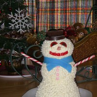 Frosty The Snowman Pound cake iced with vanilla frosting. Fondant and candy accents.