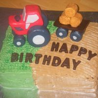 Tractor Cake This cake was baked for a little boy's 2nd birthday. The cake is chocolate with whipped strawberry filling. The tractor is fondant...