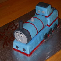 Thomas The Tank Engine Chocolate cake covered in marshmallow fondant.