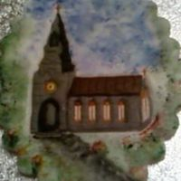 Church Plaque this is a plaque of a church design ,,,, the background hand painted in,,, and placed on a cake with the background painted in all around...