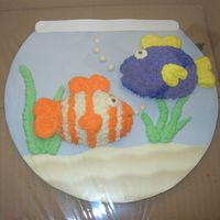 Little Fishies Smash Cake  Smash cakes to match big fish bowl for 1st birthday. Water & Sand are just scrapbook paper glued on cardboard and covered with wax...