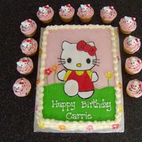 Hello Kitty Thanks to Nunuk for sheet cake inspiration. Buttercream with fondant HK and fondant HK heads on cupcakes.