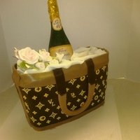 Champagne Bottle Cake This cake is great for any type of celebration. This tote bag is yellow cake with buttercream filling layered in chocolate ganache. The...