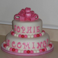 Girl Baby Shower Baby shower cake...all fondant. font and bow painted in shimmer luster dust. i took alot of time on this cake because i thought it was so...