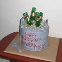 Beer Bucket 6 layuer chocolate cake with chocolate cream filling. Sugar ice and beer bottles. fondant opener.